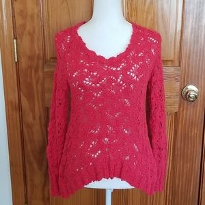 Lucky Brand Open Weave Crotchet Sweater NWT